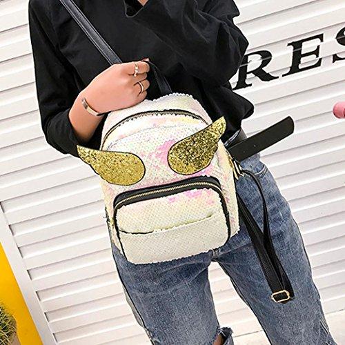 Sac Cabas BandoulièRe Petite beautyjourney Fille Sequins à à Main Cuir Sacoche Sac BandoulièRe Dos Cuir Noir Sac Sac Laser Mendigote Sac à Blanc Sac En n11wxqr8gv