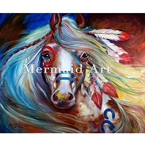 Hand Painted Art Modern - Hand-painted Graphics Modern Wall Art On Canvas Animal Oil Painting Indian war horse oil painting Pictures Room Decor