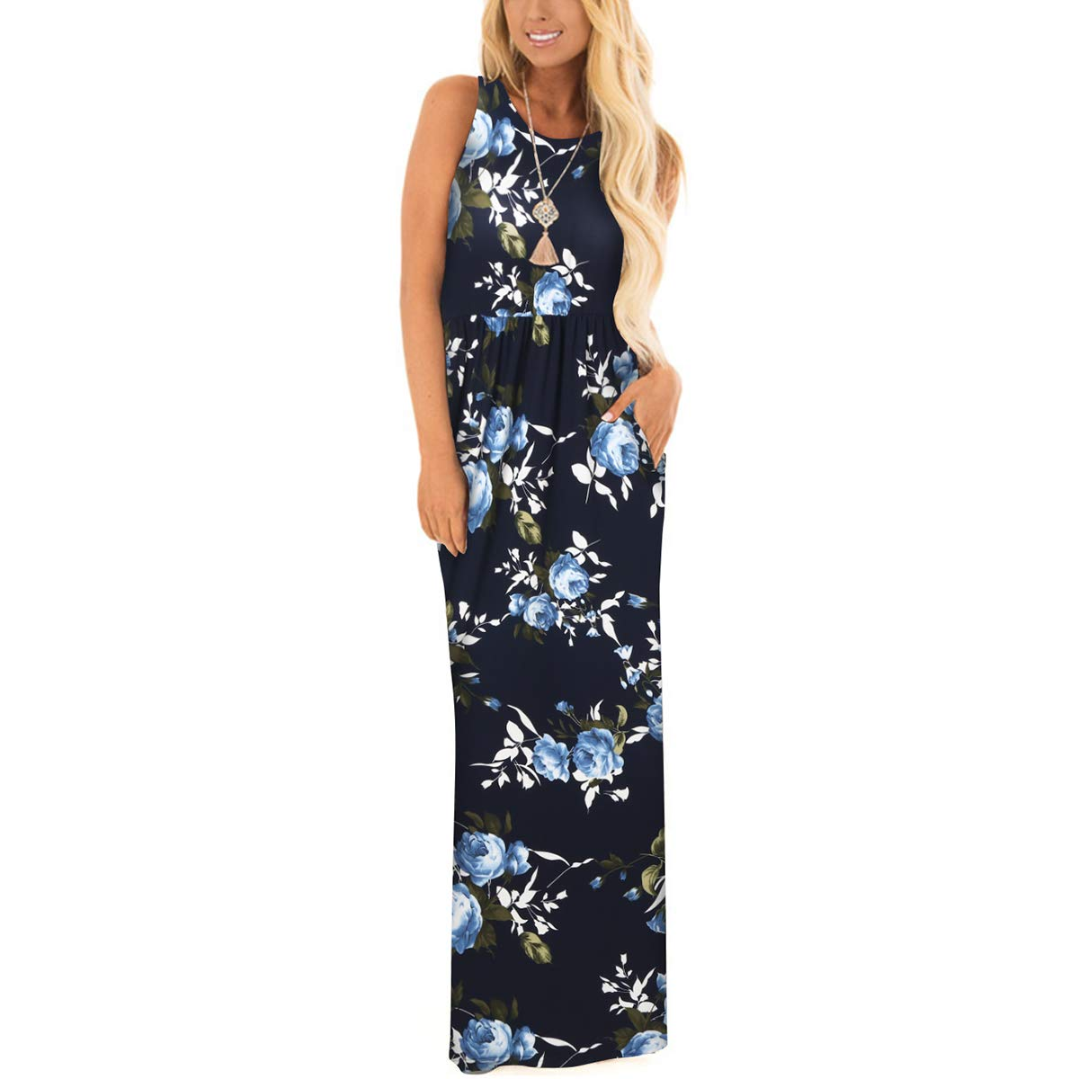 35f0185a778 ZZER Women s Sleeveless Floral Racerback Loose Swing Casual Tunic Beach  Long Maxi Dresses with Pockets at Amazon Women s Clothing store