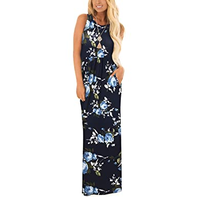 a5576f238f ZZER Women s Sleeveless Floral Racerback Loose Swing Casual Tunic Beach Long  Maxi Dresses with Pockets (