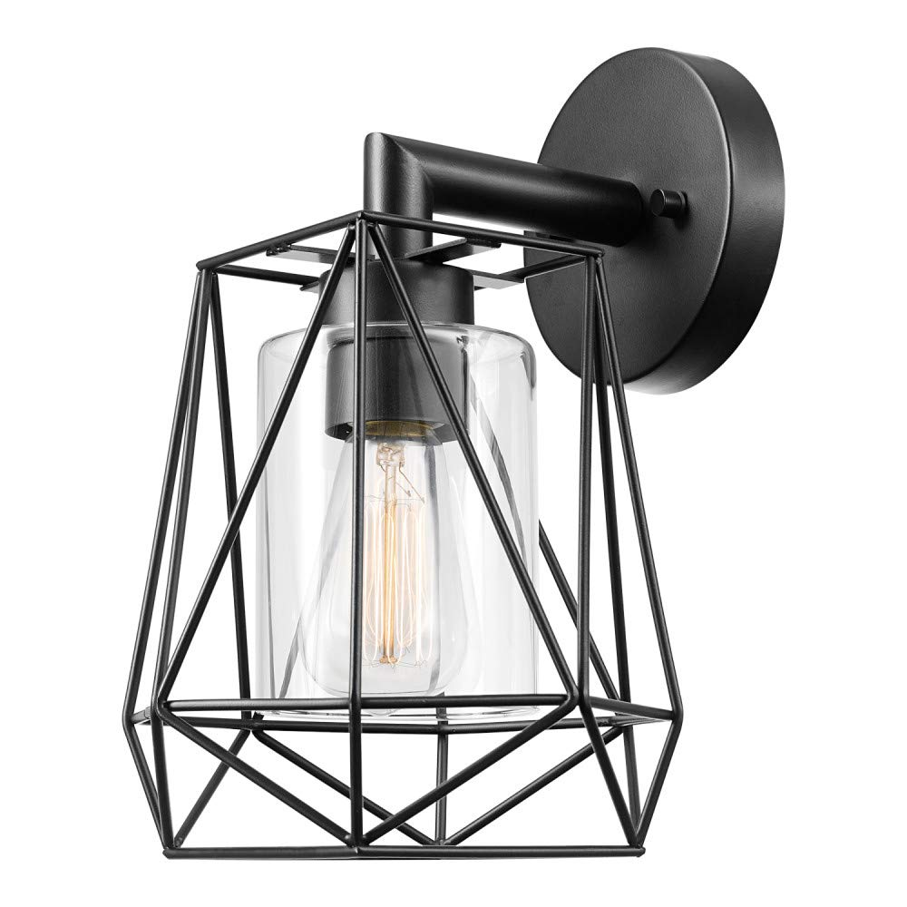 Sansa 1-Light Outdoor/Indoor Wall Sconce, Black, Clear Glass Inner Shade 44300