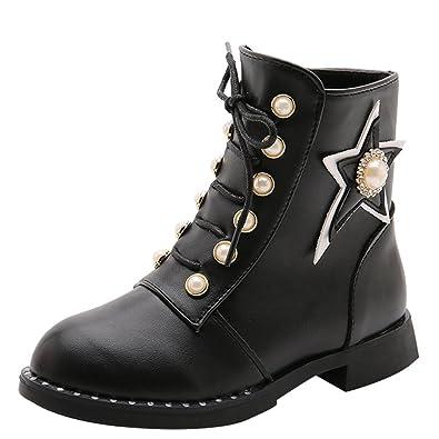 fc3083a57291a La Vogue Boots Enfant Fille Bottes de Neige Chaussure Bottines à Lacet  Hiver Chaud