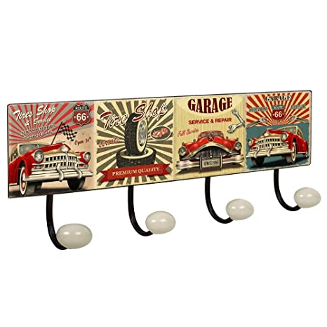 POMOLINE Percha Pared Vintage 4 Ganchos Porcelana Garage ...