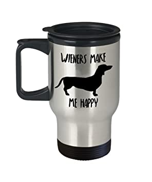 6d199e51185 Dachshund Travel Mug - Insulated Portable Coffee Cup With Handle And Lid  For Wiener Dog Lovers - Funny Christmas Gag Gift ...
