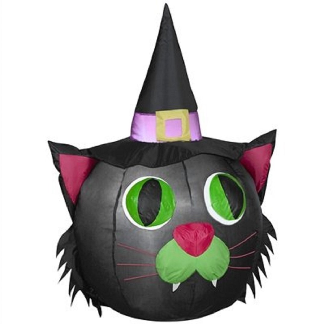 HALLOWEEN INFLATABLE LED' BLACK CAT HEAD WITCH HAT