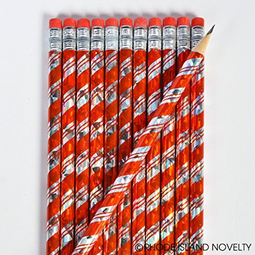 Candy Past Canes Christmas - 24 ~ Christmas Candy Cane Prism Pencils ~ Approx. 7.5