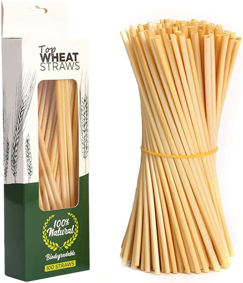 100/% Biodegradable 100pcs Straws BPA-Free cocktail straws Straws for coffee Comfortable Straws for Hot or Cold Drinks juices Ideal for Bars 100/% Natural Wheat Drinking Straws