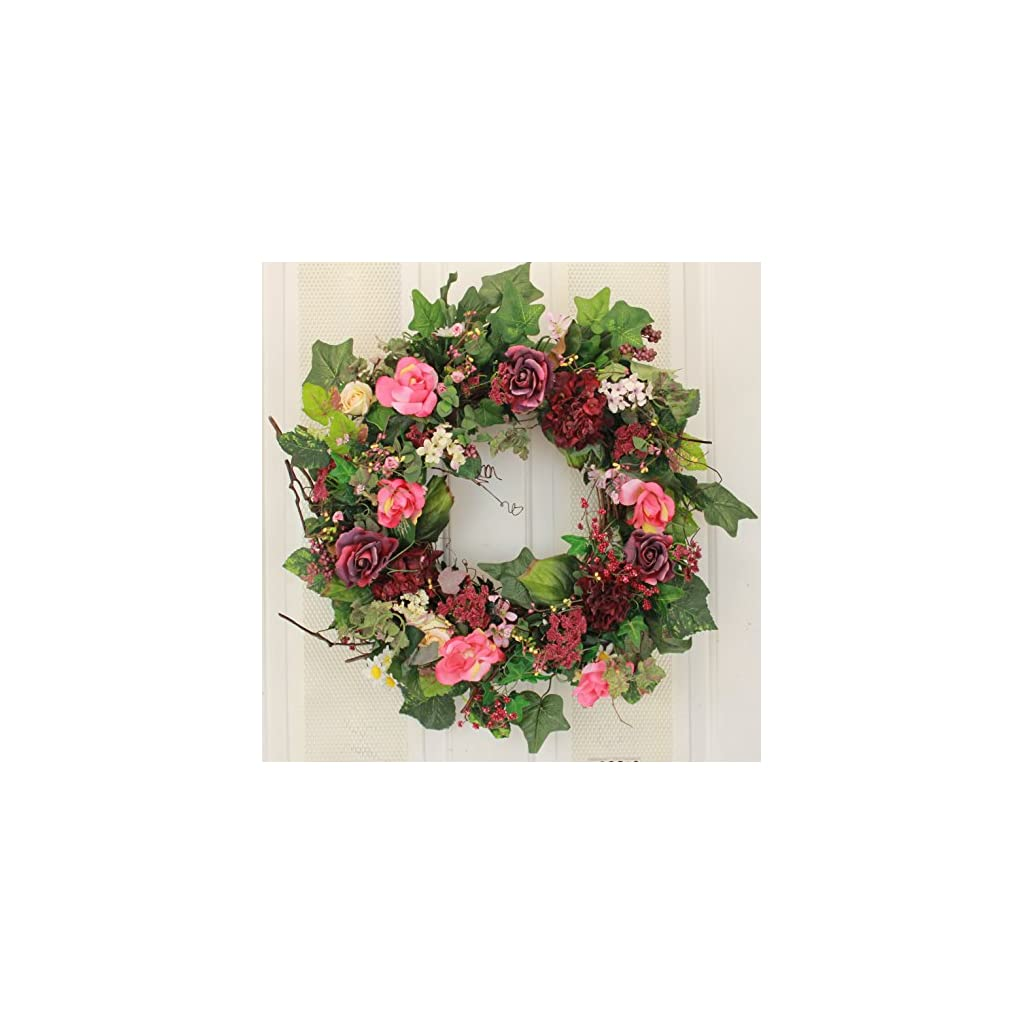 Rose-Hydrangea-and-Berry-Silk-Spring-Door-Wreath-22-Inch-Handcrafted-on-a-Grapevine-Wreath-Base-Display-in-Spring-Easter-and-Summer
