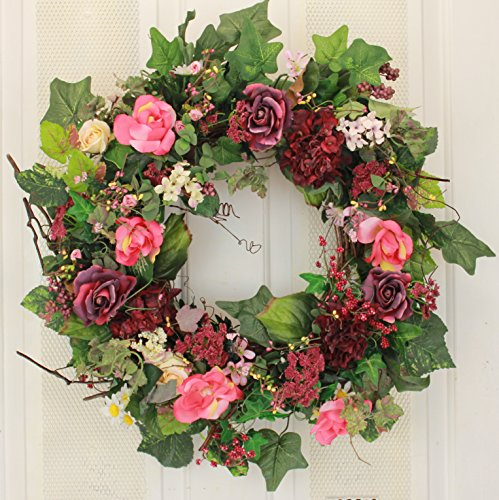 Rose Hydrangea and Berry Silk Spring Door Wreath 22 Inch -Handcrafted on a Grapevine Wreath Base- Display in Spring, Easter, and Summer
