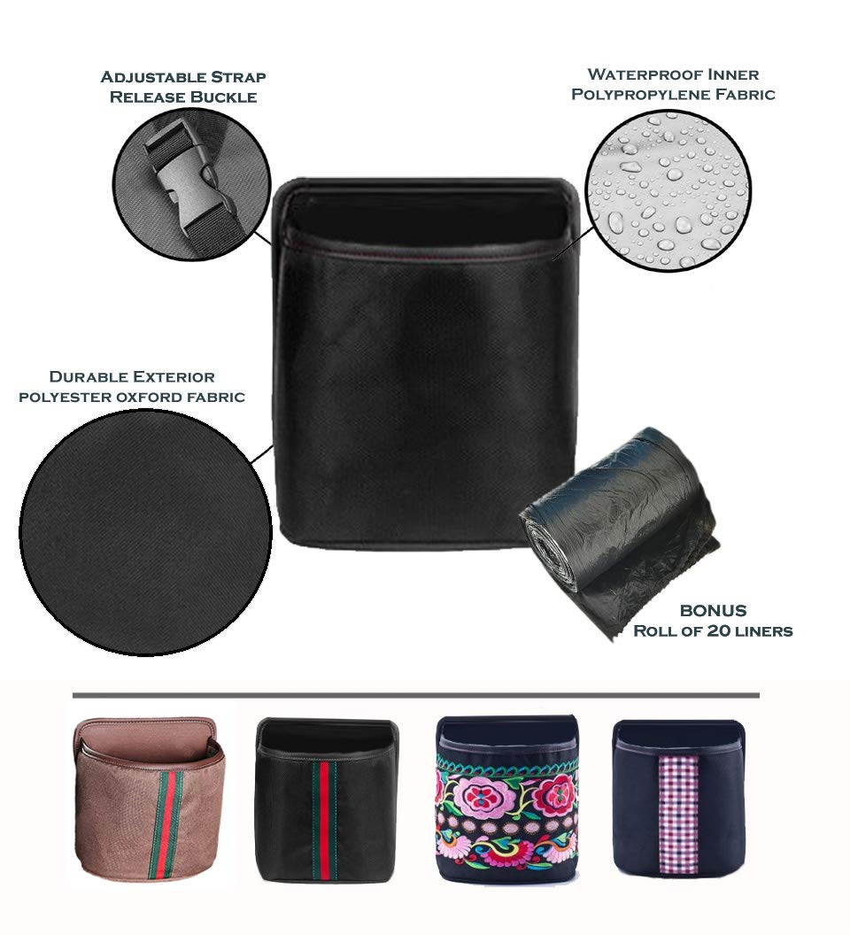 Quality stuff Leak Proof Car Trash Can – Premium Compact 7x7x4 Inches Litter Bin Portable and Collapsible Universal Auto Garbage Can, Fashionable Designs, Waterproof-FREE Liners