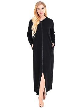 Dromild Albornoz para Mujer con Capucha para la Playa Camisones de algodón de Talla Grande Negro L: Amazon.es: Hogar