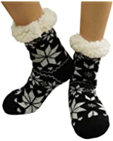 Womens Super Soft Non Skid Fleece Lining Warm Fuzzy Snowflake Slipper Socks
