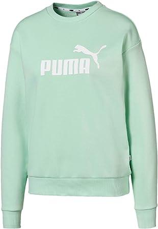 PUMA Essential Logo Crew Sweatshirt-Mint, Weiß Camisetas, Mujer