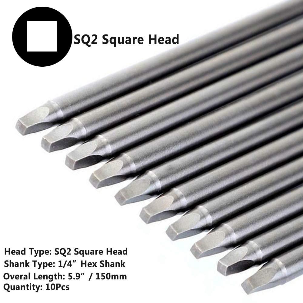 Yakamoz 10pcs 1//4-Inch Shank Long Magnetic Square Head Screwdriver Bit Set SQ2 Square Driver Bits Power Tools 5.9 Inch Length