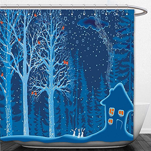 Beshowere Shower Curtain Forest Winter Landscape with Show Covered Country House Hut in Trees Rural Picture Red Dark Sky - Salem Hut