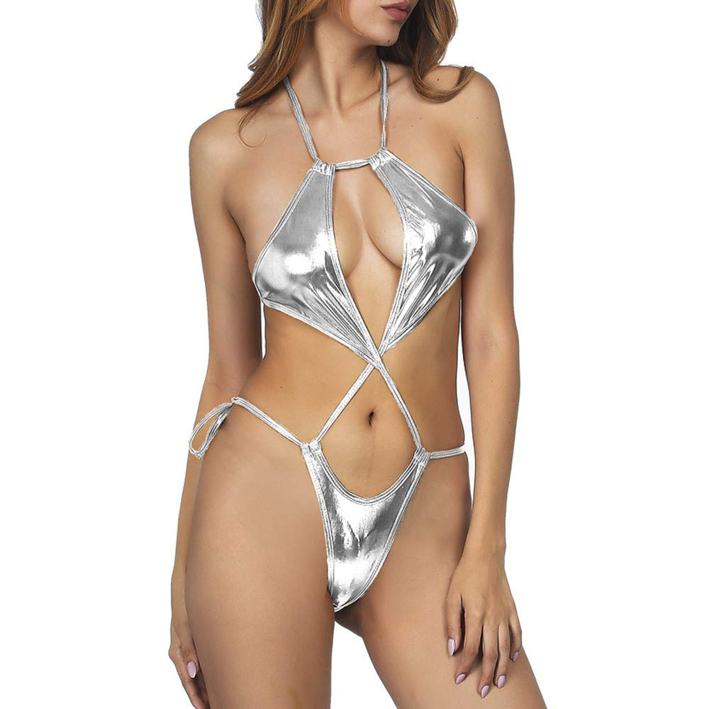 NewlyBlouW Womens Lingerie, Ladies Halter Bikini Metal Strap Hollow Smmoth Bodysuit Open Back Siamese Underwear Silver