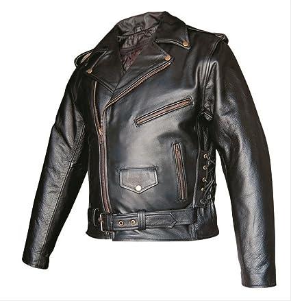 b5d293692eb5 Amazon.com  Men s Basic Premium Buffalo Leather Motorcycle Jacket w  zipout  liner   side lace in Antique hardware AL 2022-60  Automotive
