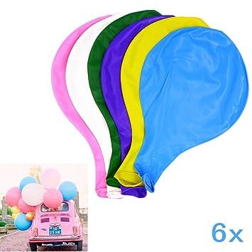 JZK 6 Piezas Globos Grandes 90 cm de látex Globos de Colores para Fiesta cumpleaños Bodas Bautizo graduación Navidad Carnaval Celebraciones
