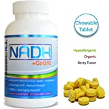MAAC10 - NADH + CoQ10 Supplement For Fatigue, Energy, Mental Focus & NAD+ Support, 50mg PANMOL® NADH + 100mg CoQ10 (60 Tasty Chewable Tablets 2 per Serving).