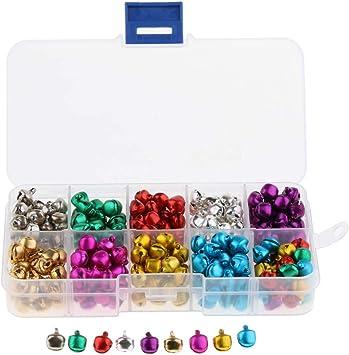B Blesiya Caja de Cascabeles de Metal Campanas Coloridas con Gancho Colgante Accesorios para Decoración dse Hogar Navidad - 300 unids 8mm: Amazon.es: Juguetes y juegos