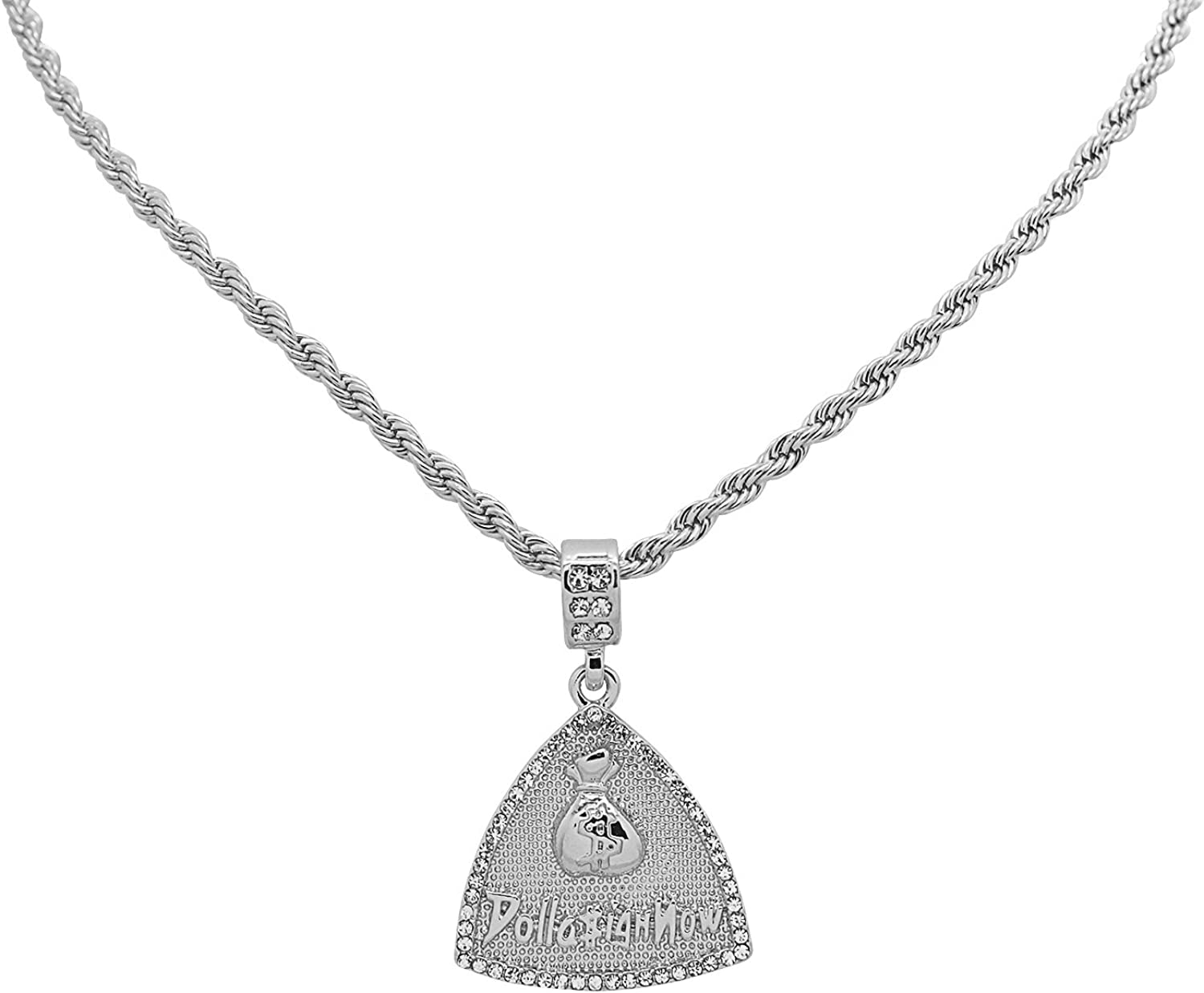 White Gold-Tone Hip Hop BlingDolla $ign Now Moneybag Pendant with 18 Tennis Chain and 24 Rope Chain