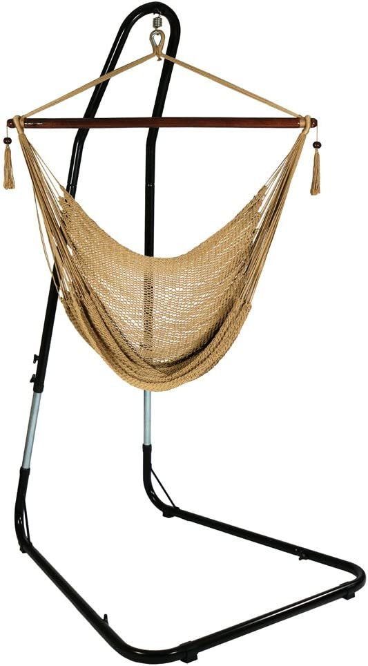 "Sunnydaze 40"" Hanging Caribbean XL Hammock Chair with Adjustable Stand - Tan - 300 lbs Weight Capacity"