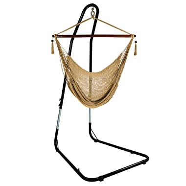Sunnydaze Hanging Rope Hammock Chair Swing with Adjustable Stand, Extra Large Caribbean, Tan - for Indoor or Outdoor Patio, Yard, Porch, and Bedroom