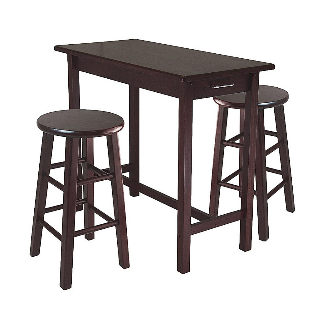 RA Counter Height Pub Table Set Counter Round Stools Kitchen Dining Narrow Wooden Table Set Rectangular Two Storage Drawers Traditional Breakfast Table Brown & eBook BADA Shop