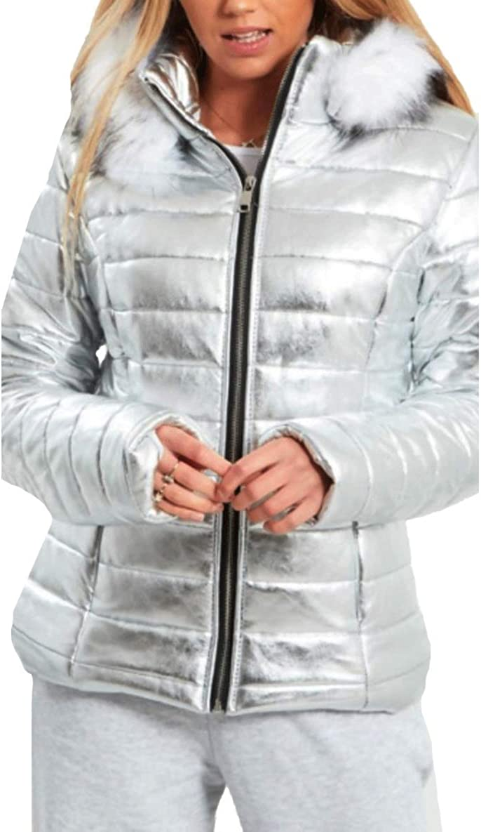 Italian Collection Womens Quilted Puffer Wet Look Black Shiny Padded Jacket Fur Hooded Thick Coat
