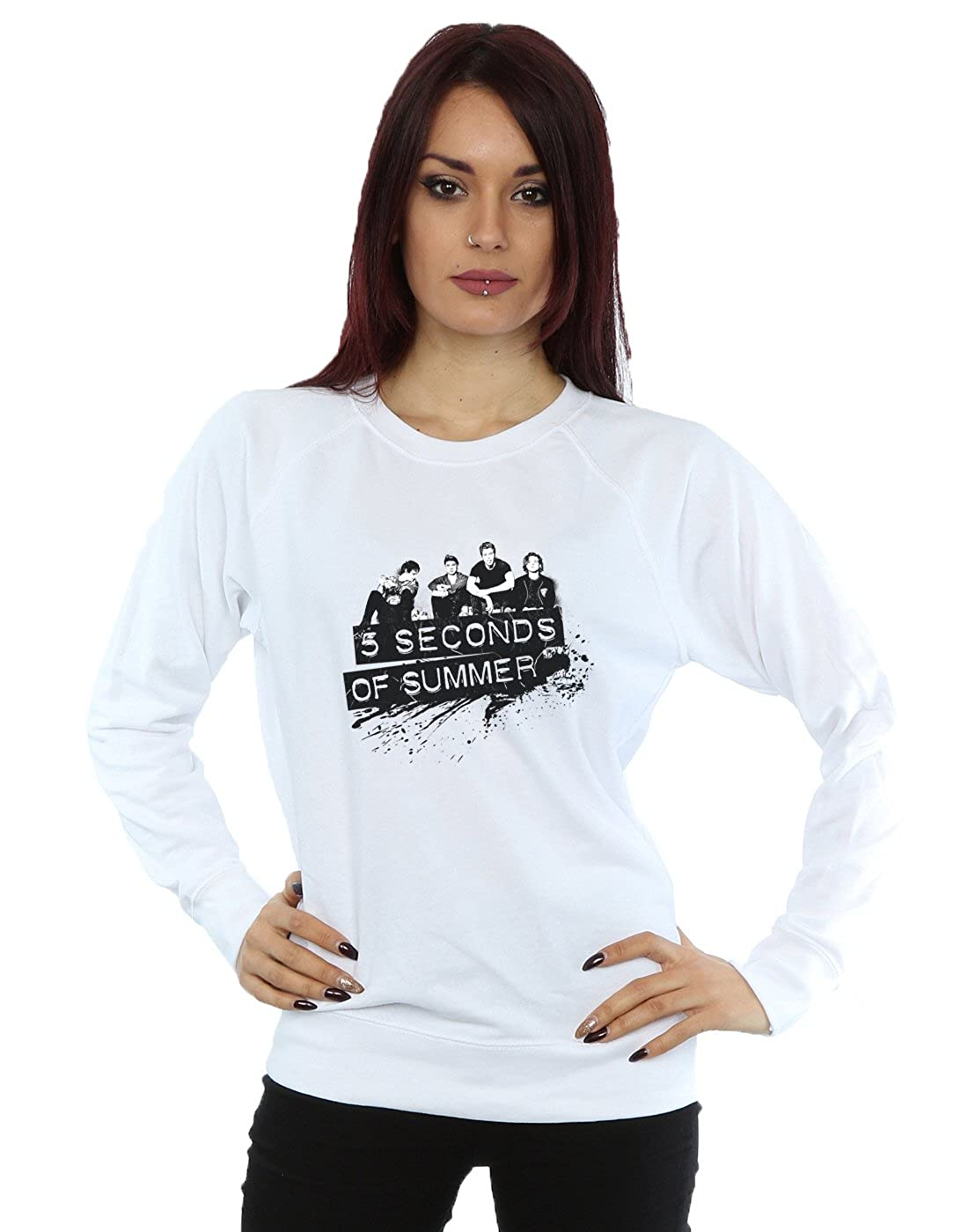e3110ccdf535 5 Seconds Of Summer Women s Black Splatter Sweatshirt  Amazon.co.uk   Clothing