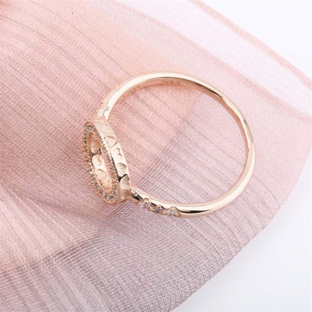 DARLING HER Silver Ring Hearts of Halo with Crystal Rings for Women Rose Gold Color Wedding Party Gift Fit Lady Jewelry