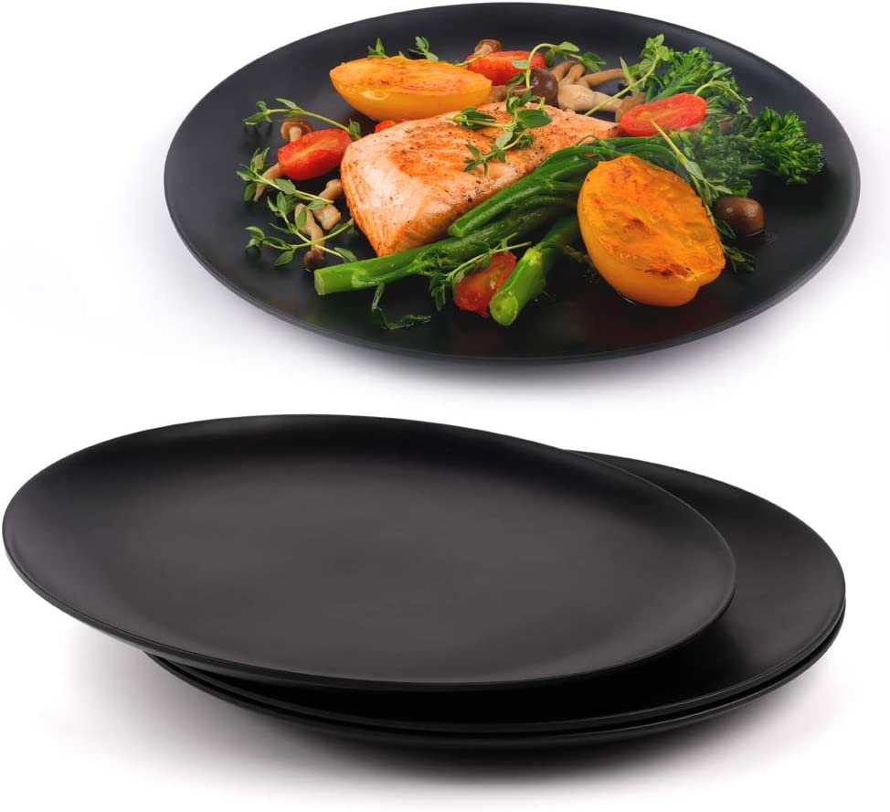 Black Dinner Plates Set of 4, Kitchen Plates, Matte Black Plates, Modern Dinner Plates, Dishwasher Safe Plates, Unbreakable Dinnerware, Bamboo Fiber, 10 Inch, Lightweight, Sustainable, Microwavable