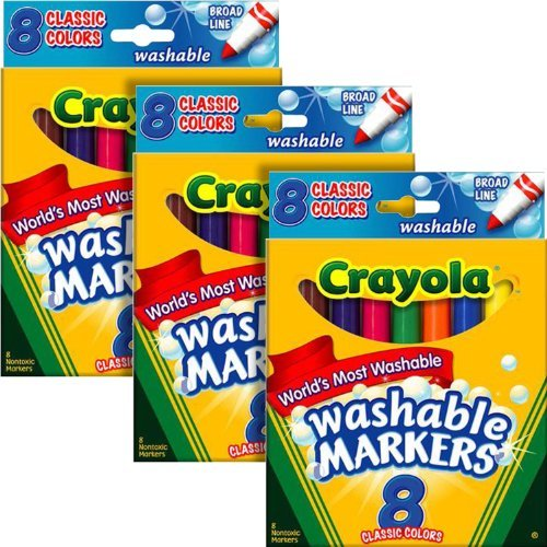 Classic 8 Colors Count - Crayola Washable Markers, Broad Tip, Classic Colors, 8 Count (Pack of 3)