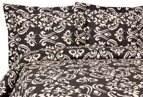 - Elite Home Products Sicily Collection 300 Thread Count Sateen 3-Piece Duvet/Sham Set, Full/Queen, Black
