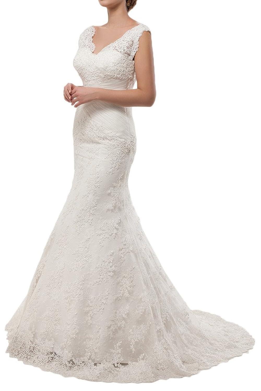 Victory Bridal Elegant Weiss Spitze meerjungfrau Abendkleider Hochzeitskleider brautkleider brautmode Lang