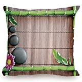 Throw Pillow Cushion Cover,Meditation,Spa Frame with Spiritual Stones Bamboo Stems Orchid Petals Yoga Zen Philosophy,Multicolor,Decorative Square Accent Pillow Case