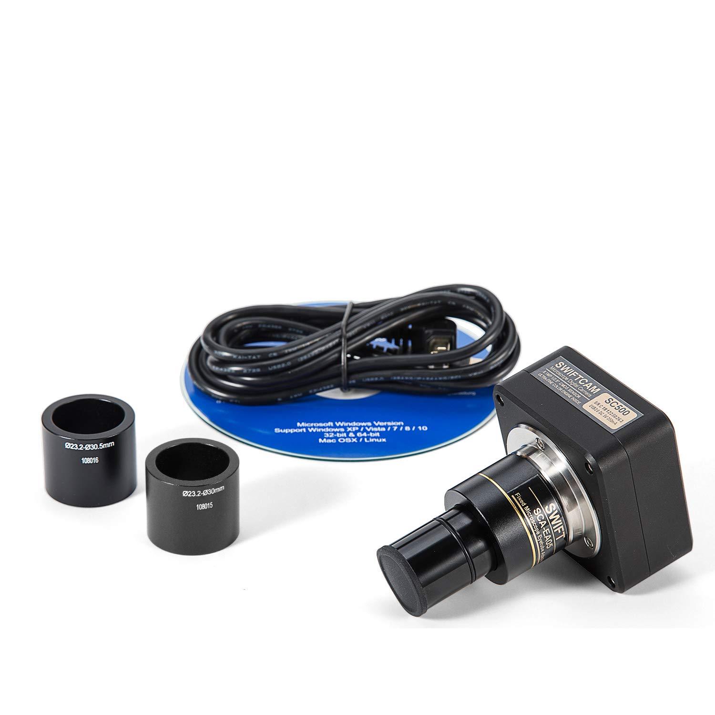 USB2.0 Mikroskopkamera 2500X,Siedentopfkopf,Lab-Mikroskop f/ür Forschungszwecke mit 10X//25X WF-Okular,Kamera-kompatibel,inkl SWIFT SW380T-SC500-5PBC Trinokulares Durchlicht Mikroskop 40X
