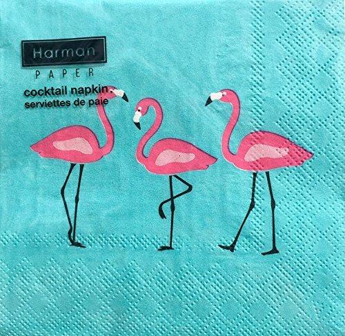 Harman Paper Pink Flamingos Cocktail Beverage Napkins, Turquoise, 20-ct