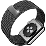 Apple Watch Band, Maxboost Plexus 42mm Milanese Loop Stainless Steel Mesh Bracelet Strap Accessories for Apple Watch All Models (Magnetic Closure, No Buckle Needed) - Black Space Gray