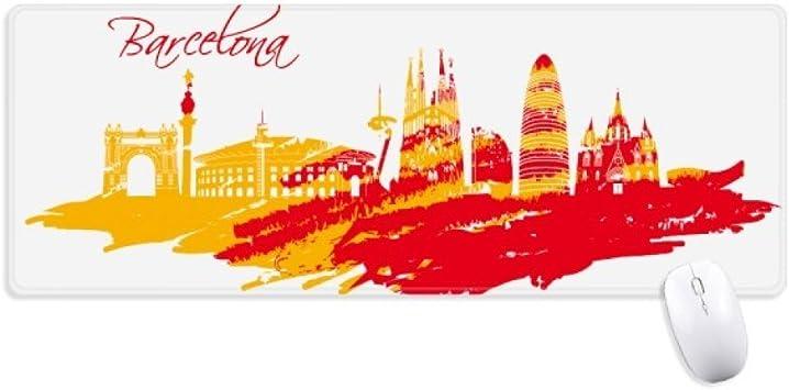 Ciudad silueta rojo amarillo Barcelona antideslizante alfombrilla de ratón grande Extended Juego oficina titched bordes alfombrilla de ordenador de regalo: Amazon.es: Electrónica