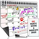 Smart Fish - Monthly Magnetic Refrigerator Dry Erase Calendar with **FREE** Magnetic Fridge Notepad and Dry Erase Marker - Write and Erase Monthly Calendar Board for Kitchen Fridge