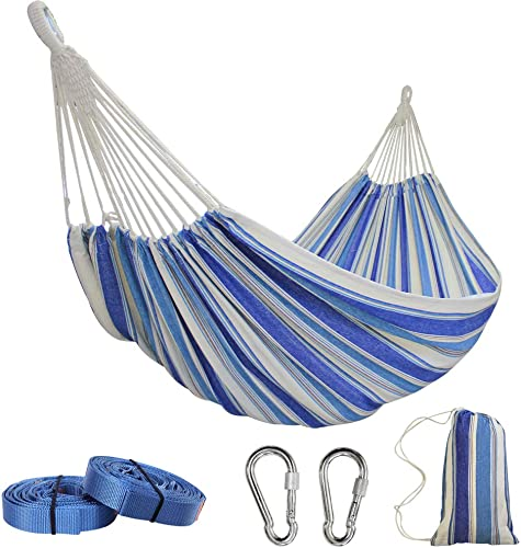 PIRNY Large Double Cotton Hammock,Hanging Swing Bed,Up to 500 Lbs,incude 20 ft of Tree Swing Straps and 2 Carabiner,for Indoor Outdoor Garden Patio Park Porch Double Navy Blue Stripe