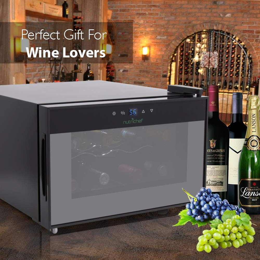 NutriChef PKTEWC806 8 Bottle Thermoelectric Red And White Wine Cooler/Chiller, Counter Top Wine Cellar with Digital Control, Freestanding Refrigerator, Smoked Glass Door, Quiet Operation Fridge, Black by NutriChef (Image #7)