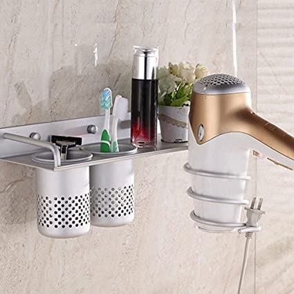 Superieur Hair Dryer Stand Storage Organizer Rack Holder Hanger Wall Mounted Bathroom  Set