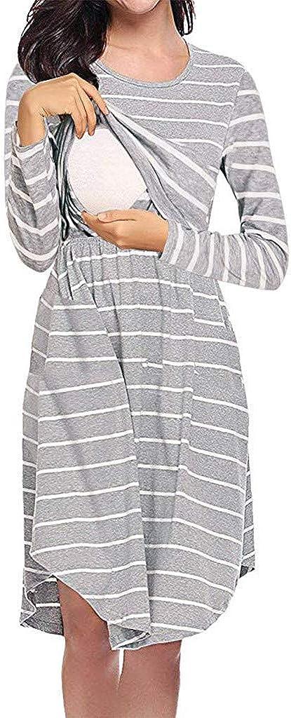 Kleid Winterfrau Stillen Stillen Baby Schwangerschaft Schwangerschaft gestreiften Kleidung Sommerkleid-Rundhals-Unregelm/ä/ßig-Minikleid