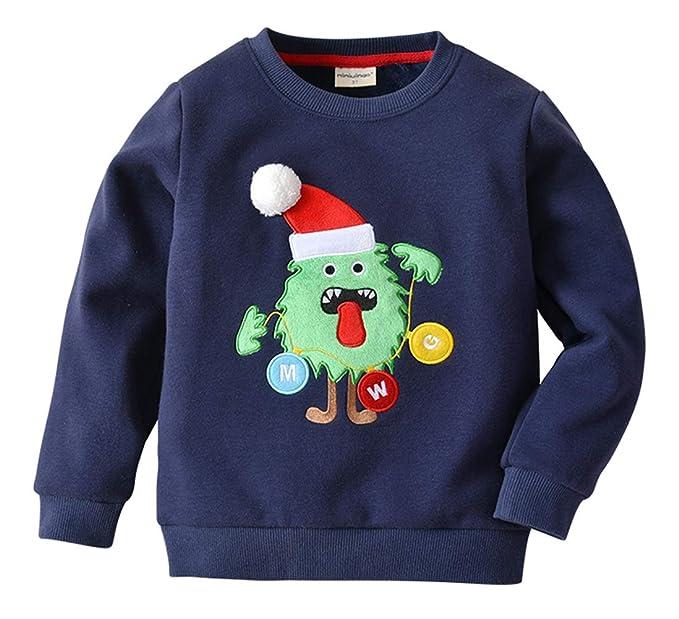 26a717cdbe64d mimiwinga Pull-over Bordé de Dessin pour Noël Bleu Enfant Garçon Sweatshirt  Polaire Chaud Manche