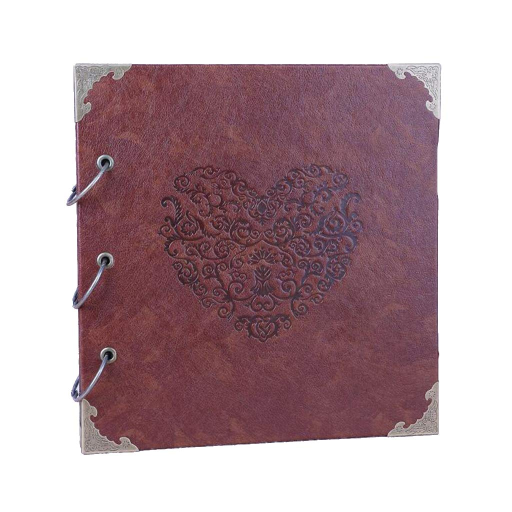 Nuonyerg Custom Wedding Guest Book ,Heart-Shaped Leather Cover Scrapbook DIY Photo Album,Perfect as Wedding Guest Book