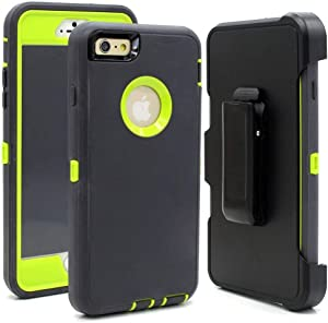 iPhone 6 Case, iPhone 6s [Heavy Duty Protection] [with Kickstand] 4 in 1 Rugged Shockproof Cover Holster Case with Built-in Screen Protector for Apple iPhone 6/6S (Dark Grey/Green)