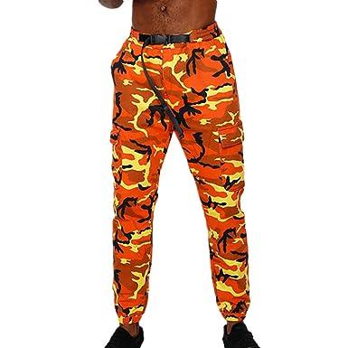 Fangcheng Jogger Camo Pantalon Camouflage Cargo Pantalons Hommes Militaire  Armée Pantalon Hommes Hip Hop Pantalon Orange f5b3d288dcb
