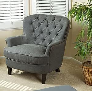 Vintage Tela sillón tradicional Wing silla de espalda alta